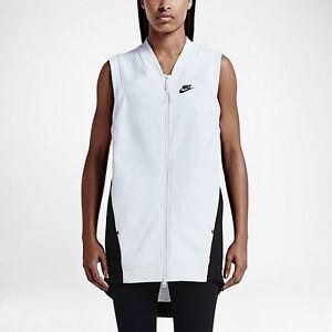 Women's  M Nike Tech Knit Fleece Full-zip Cocoon Sweater White Black 725846 100