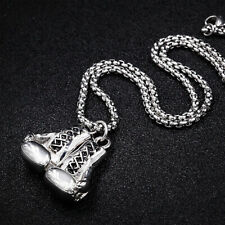 Stainless Steel Men Pendant Necklace Chain Silver Rocky 3D Boxing Glove Charm