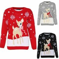 Kids & Women's Unisex Christmas Jumper Bambi Reindeer Xmas Jumper Sweater New UK