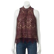Lauren Conrad Maroon Mockneck Allover Lace Overlay Sleeveless Top Blouse S XL