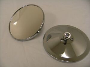 """1947 - 1972 Chevy Truck Pickup 5"""" Round Smooth Outside Exterior Mirror PAIR NEW"""