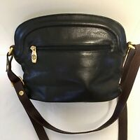Valentina Black Leather Handbag Crossbody Soft Made in Italy Brown Trim Small