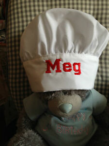 Personalised Childs Chef's Hat -Embroidered- Adjustable-fits various sizes