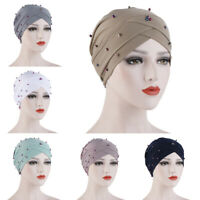 Hijab Chemo Scarf Hair Head Wrap Cancer Hat Loss Turban Beads Muslim Women Cap