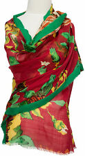 Schal scarf ècharpe 100% Wolle Rot Grün  Green Red  Blumen Floral  wool