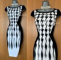 KAREN MILLEN UK 6 Black White Geometric Print Stretch Casual Pencil Dress EU 34