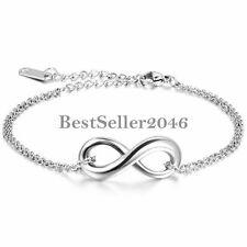 Silber Tone Charme Infinity Liebe Symbol Edelstahl Kette Fußkettchen Armband