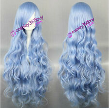 Date A Live Yoshino Cosplay wig long wavy wig light blue color women's wig