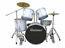 NEW HAMMER HEAVY DUTY 5 PIECES DRUM SET-WHITE COLOR