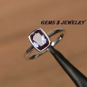 alexandrite ring silver solitaire ring June birthstone ring Cushion cut gemstone