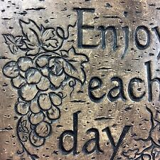 ENJOY EVERY DAY Wall Plaque Inspirational Sign grapes vine twine