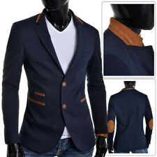 Mens Blazer Jacket Casual Formal Dark Navy Blue Buttoned Suede Elbow Patches NEW