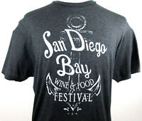 San Diego Bay Wine And Food Festival T Shirt Mens XL Gray USA 2 Sided Soft