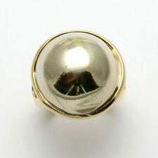 Vintage 14k Domed Round Ring yellow white gold Vintage 2 tone Estate