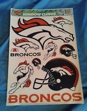 NFL DENVER BRONCOS WINDOW CLINGS DECAL SHEET Unused Reusable 1990's 11 X 17