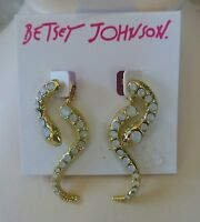 Betsey Johnson snake earrings, in gold tone.