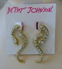 Betsey Johnson snake earrings, in gold tone.