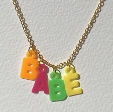 Cute BABE Rainbow Plastic Letters Kawaii Necklace  18 Inches Long Chain  E053 2