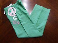 scrub style lounge pants Womens Small  peace Hippie green pink 100% cotton