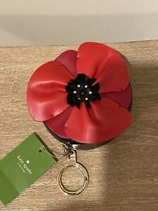 Kate Spade Ooh La La Poppy Flower Coin Purse Key Chain Fob NWT