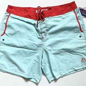 Mr. Swim Solid Tone Swim Trunk Turquoise & Red Size 36 New With Tags Retro 60s