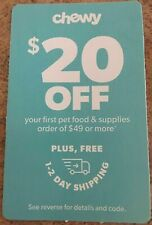 CHEWY.com Coupon $20 Off First Order of $49 w/free shipping - expires 9/30/2020