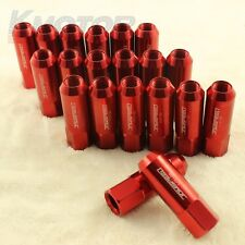 RED 20PCS EXTENDED FORGED ALUMINUM TUNER RACING LUG NUT FOR FORD MUSTANG 1/2-20