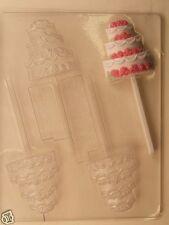 WEDDING CAKE LOLLIPOP CLEAR PLASTIC CHOCOLATE CANDY MOLD W049