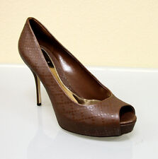 $575 New Authentic Gucci Sofia Diamante Leather Platform Pumps SHOES 38/8 Brown