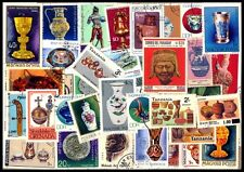ARTIFECTS ON STAMPS-50 All Different World wide Thematic Foreign Country Stamps