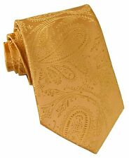 New Men's Polyester Woven Neck Tie necktie only gold paisley prom wedding
