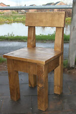 NEW SOLID WOOD WOODEN PEW DINING CHAIR RUSTIC CHUNKY PLANK *handmade to order*