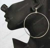 CLIP ON 7cm BIG HOOPS giant HUGE HOOP EARRINGS silver plated clips silvertone