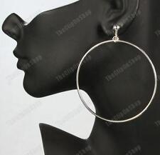 CLIP ON 7cm BIG HOOPS giant HUGE HOOP EARRINGS silver plated clips silvertone