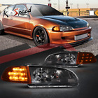 Led Turn Signal Black Housing Clear Corner Headlights For 92-95 Honda Civic