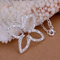 ASAMO Damen Halskette Schmetterling Anhänger 925 Sterling Silber plattiert H1013