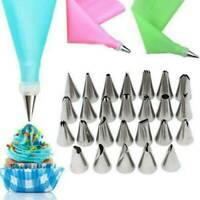 Silicone Icing Piping Cream Pastry Bag Cake Decorating Baking Tools 24Nozzle Set