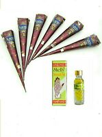 6 Natural Herbal Henna Cones Temporary Tattoo Kit + Henna Oil For Best Results