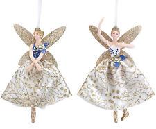 2 x Gisela Graham Blue Gold Hanging Resin Fairy Christmas Tree Decorations