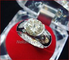 925 Sterling Silver 2Ct Off White Moissanite Half Bezel Set Engagement Ring