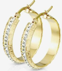 *NEW & SEALED - Quality Gold & Crystal Paved Large Hoop Pair Of Earrings