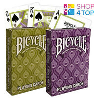 2 DECKS BICYCLE PEACOCK PURPLE GREEN PLAYING CARDS FEATHER PATTERN DESIGN USPCC