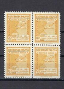 Bolivia 1945 Sc# C101 Airmail yellow Map of Natl Plane block 4 MNH