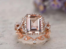 2Ct Emerald Morganite Synt Diamond Halo Engagement Ring Set Rose Gold Fns Silver