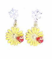 Lovely silver tone snowflake with hanging yellow daisy & ladybird stud earrings