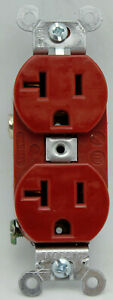 Hubbell CR5352R Duplex Receptacle Outlet 20A 125V - Smooth Face Red