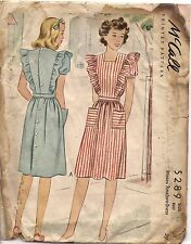 McCall's Sewing Pattern 5289, Vintage 1943 Pinafore Dress, Size 14 Bust 32