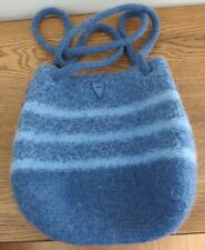 Shades of Blue Med. Size Felted Wool Handbag/Purse/CarryAll w/Heart Button Decor