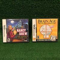 Nintendo DS THQ Nancy Drew The Hidden Staircase & Brain Age Video Game Bundle