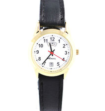 Ladies Day Date Watch Gold Case With Black Faux Leather Strap by Ravel